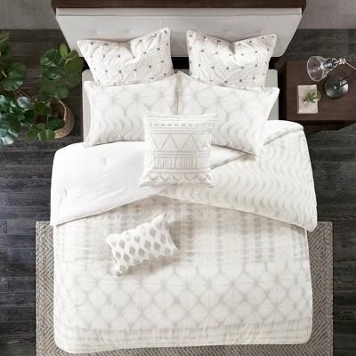 3pc King/California King Fiji Cotton Duvet Cover Mini Set Gray