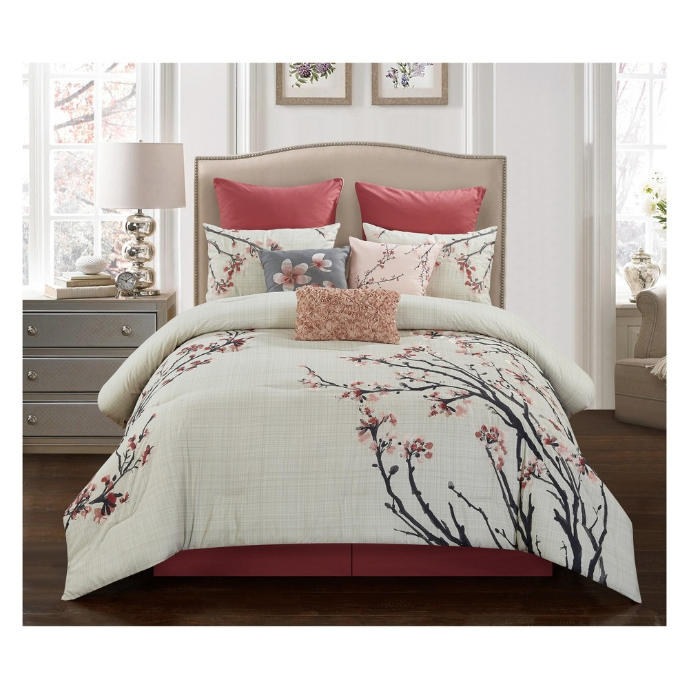 9pc King Penny Comforter Set Spice - Riverbrook Home, Red White