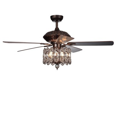 """52"""" x 52"""" x 23"""" Grove Dejes Chandelier Lighted Ceiling Fan with Crystal Shade Brown - Warehouse Of Tiffany"""