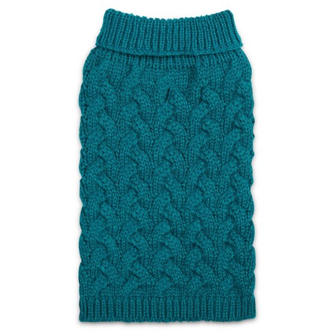 Elements Chunky Cable Sweater  Dog Costume - Blue - image 1 of 2