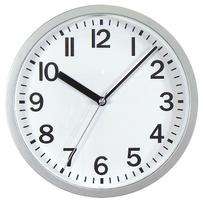 9  Round Wall Clock Silver - Room Essentials™