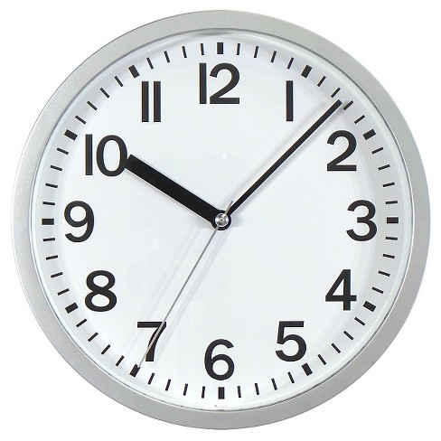 9 Quot Round Wall Clock Silver Room Essentials Target