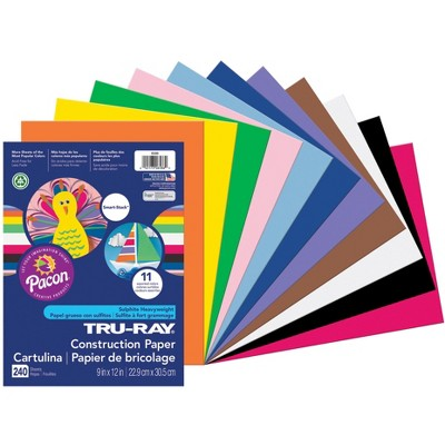 Tru-Ray Sulphite Construction Paper, 9 x 12 Inches, Assorted Colors, 240 Sheets