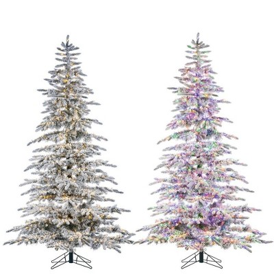 7.5ft Sterling Tree Company Full Flocked Mountain LED Pre-Lit Pine Artificial Christmas Tree