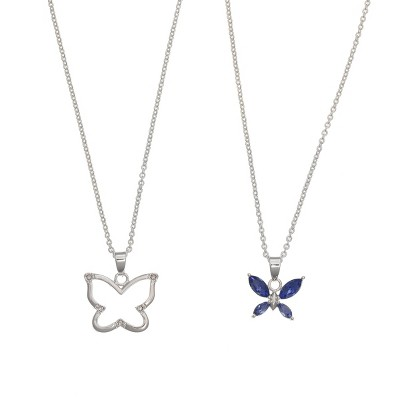 FAO Schwarz Fine Silver Plated Butterfly Pendant Necklace Set