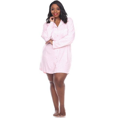 Women's Plus Size Long Sleeve Nightgown - White Mark - image 1 of 3