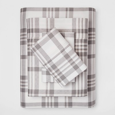 Queen 400 Thread Count Printed Performance Sheet Set Plaid Twill Gray - Threshold™