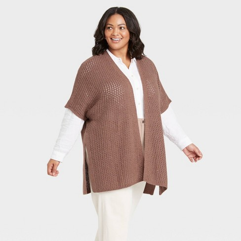 Women's Knit Wrap Jacket - Universal Thread™ Clay - image 1 of 2