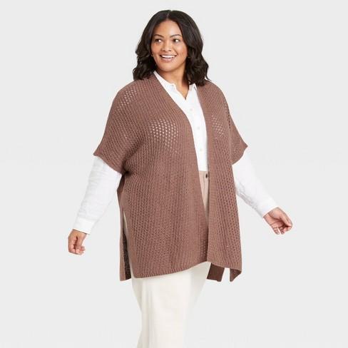 Women's Knit Ruana Jacket - Universal Thread™ Clay - image 1 of 2