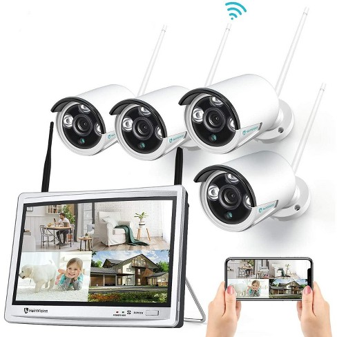 HeimVision HM243 1080P Wireless Security Camera System with 12 inch LCD Monitor, 8CH NVR 4Pcs Outdoor/Indoor WiFi Surveillance Cameras with Night Vision, Waterproof, Motion Detection, No Hard Drive - image 1 of 4