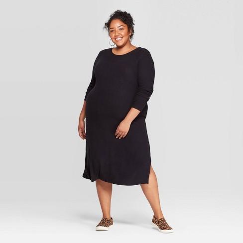 Women\'s Plus Size Long Sleeve Scoop Neck Rib-Knit Dress - Ava & Viv™