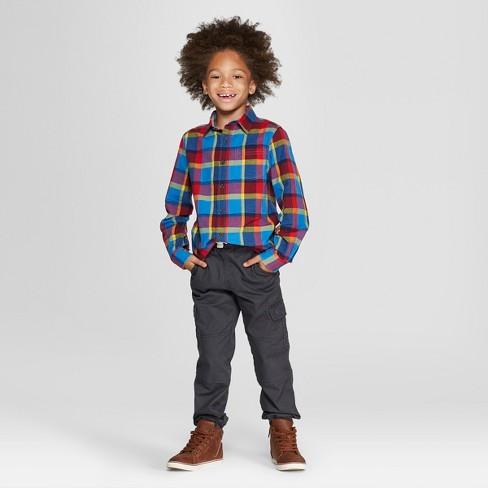 12280f6b05 Boys  Plaid Long Sleeve Button-Down Shirt -Cat   Jack™ Blue Red. Shop all  Cat   Jack