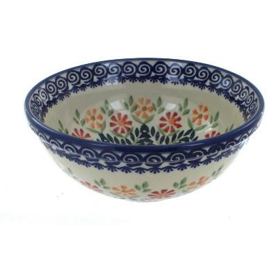 Blue Rose Polish Pottery Garden Bouquet Cereal/Soup Bowl