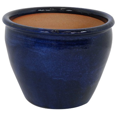 """Sunnydaze Chalet Outdoor/Indoor High-Fired Glazed UV- and Frost-Resistant Ceramic Planter with Drainage Holes - 15"""" Diameter - Imperial Blue"""