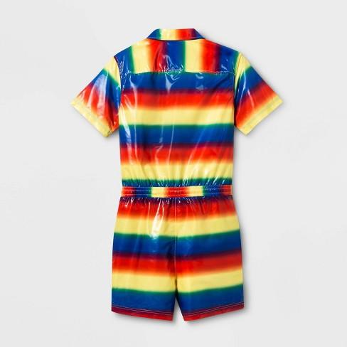 9f03a8226 Pride Adult Striped Gender Inclusive Jumpsuit - Rainbow : Target