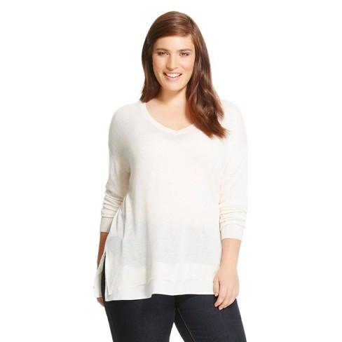 Women's Plus Size Mixed Media Pullover Sweater - Ava & Viv™ Sour Cream 3X - image 1 of 1
