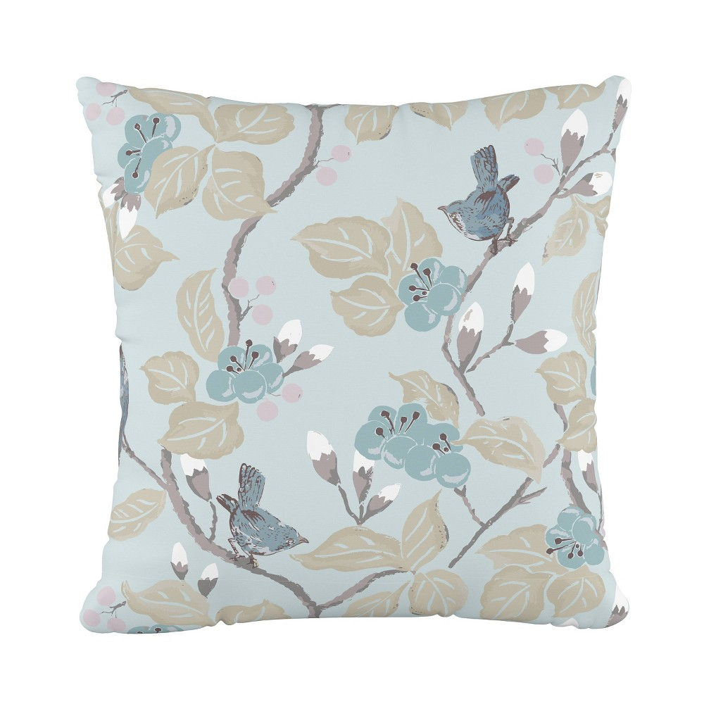Chinois Floral Square Throw Pillow Blue Skyline Furniture