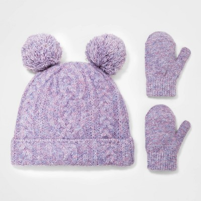Toddler Girls' 2pk Marled Beanie with Magic Mittens - Cat & Jack™ Purple 12-24M