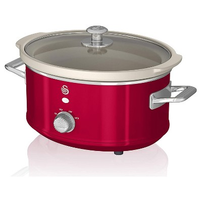 Swan 3.5 Liter 200 Watt Vintage Retro Automatic Electric Kitchen Slow Cooker Pot with High, Low, Auto, and Keep Warm Settings, Red