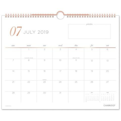 Calendar 2020.2019 2020 Academic Wall Calendar White Cambridge