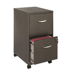 "18"""" Deep 2 Drawer File Cabinet in Metallic Charcoal Brown-Hirsh Industries"