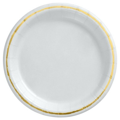 """6.75"""" Snack Paper Plate with Foil White/Gold - Spritz™"""