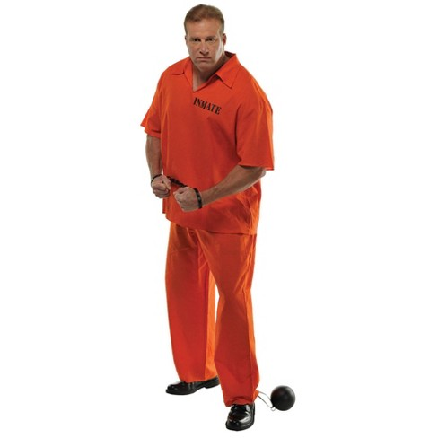 Men's Plus Inmate Halloween Costume - One Size - image 1 of 1