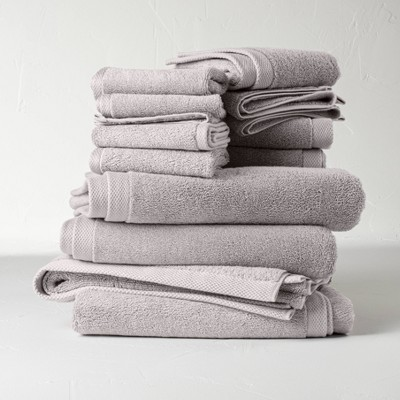 12pc Organic Bath Towel Set Gray - Casaluna™