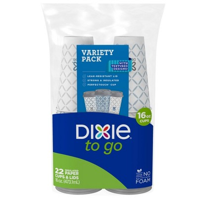 Dixie To Go Hot Beverage Cups & Lids - 22ct/16oz