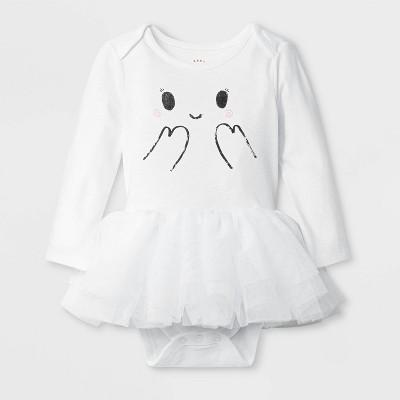 Baby Girls' Halloween Ghost Bodysuit - Cat & Jack™ White 0-3M