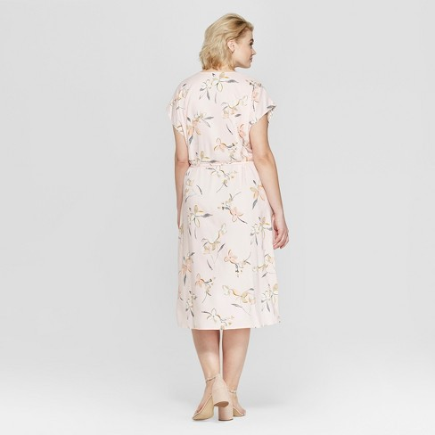 f8365fab59804 Women s Plus Size Floral Print Short Sleeve Wrap Midi Dress - Ava   Viv™  Pink   Target