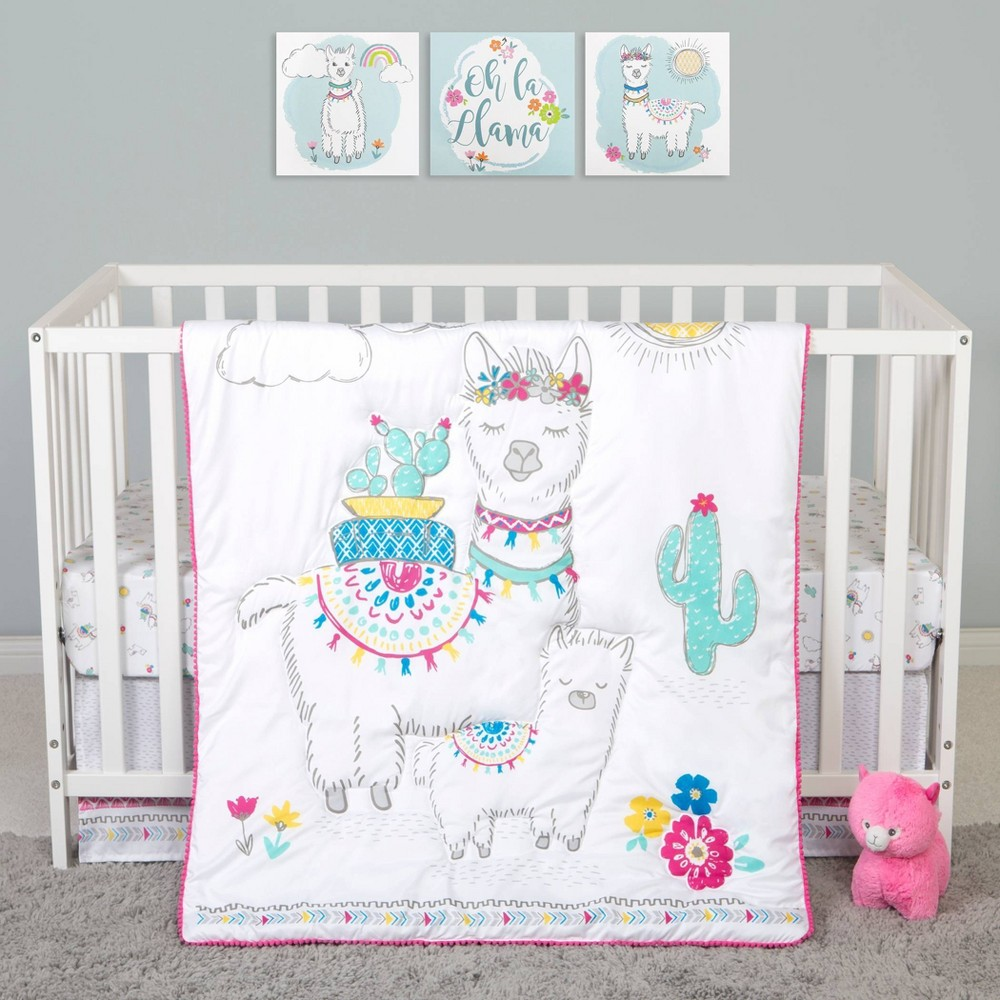 Image of Sammy and Lou Llama Mama Crib Bedding Set - 4pc