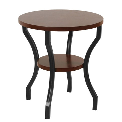 Small Round Wood And Metal Accent Table Dark Walnut Brown Black Homepop