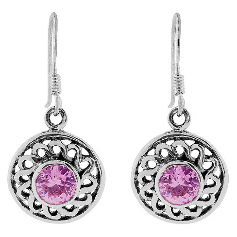 3/4 CT. T.W. Round-cut CZ Intricate Dangle Bezel Set Earrings in Sterling Silver - Pink - image 1 of 2