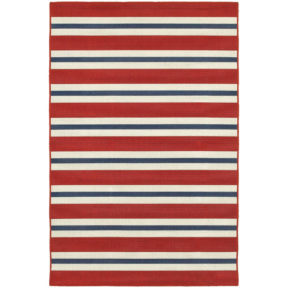 Marlowe Striped Patio Rug Red/Blue