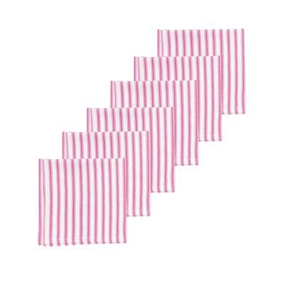 C&F Home Ticking Stripe Fuchsia Napkin Set of 6