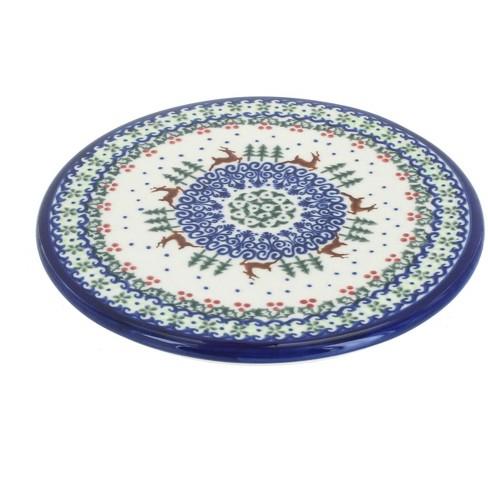 Blue Rose Polish Pottery Reindeer Delight Trivet - image 1 of 1