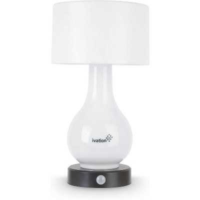 Ivation 6-LED Motion Sensing Small Table Lamp, Multi Zone Light: Body Only, Shade Only, or Both Body & Shade, Continuously White Light