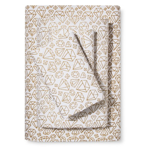 Jewels Metallic Foil Printed Cotton Sheet Set Gold - Pillowfort™ - image 1 of 1