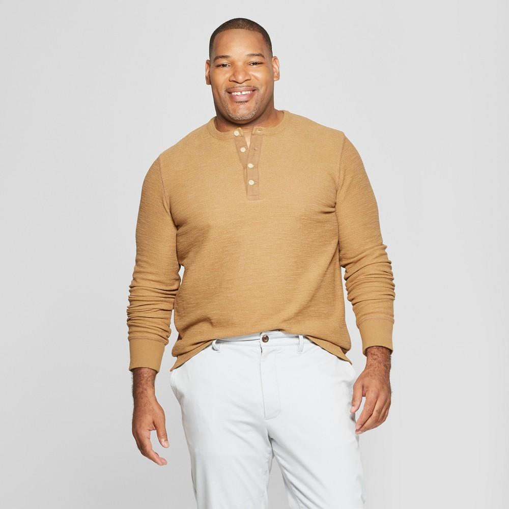 Men's Big & Tall Long Sleeve Textured Henley Shirt - Goodfellow & Co Dapper Brown 2XBT