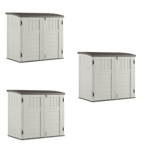 Suncast 3 Door Locking System Horizontal Storage Shed Stow Away, Ivory (3 Pack) - image 1 of 4