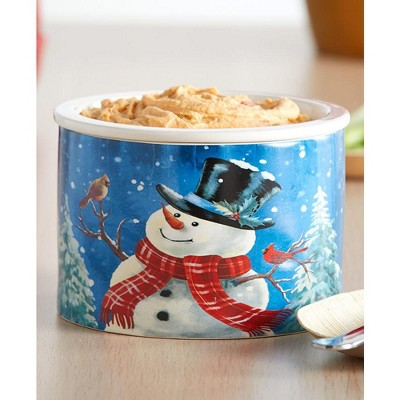 Lakeside Stoneware Dip Chiller Bowl with Snowman Winter Theme for Christmas, Holidays