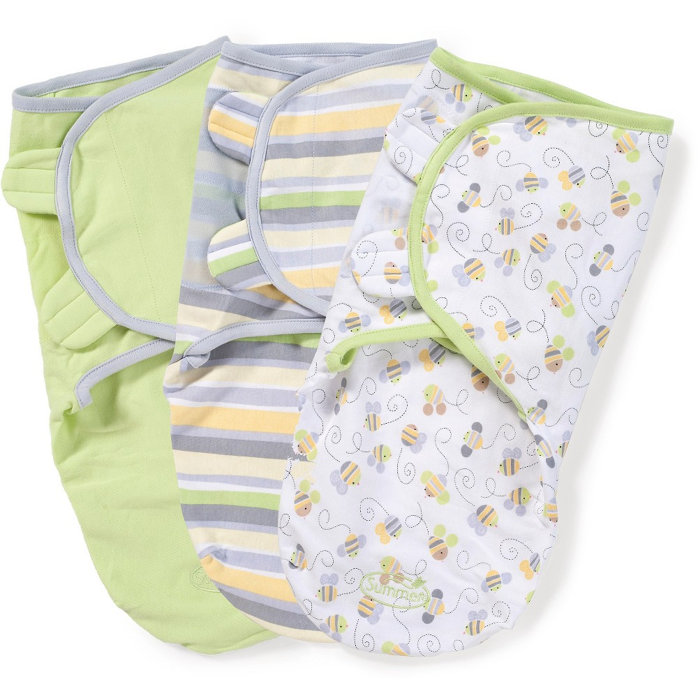 SwaddleMe Original Swaddle 3pk - Natural Bee (S/M, 0-4mo), Sage - Natural Bee