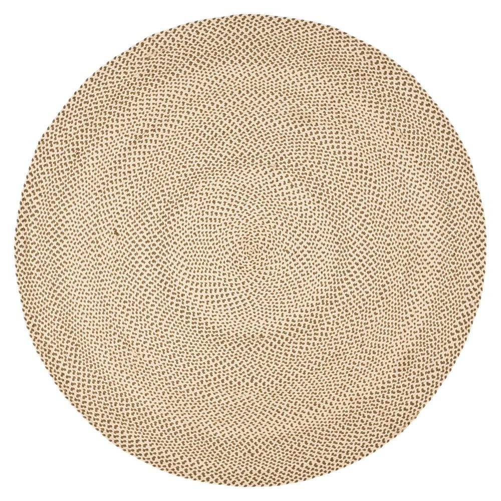 Beige/Brown Solid Woven Round Area Rug 6' - Safavieh, Brown Beige