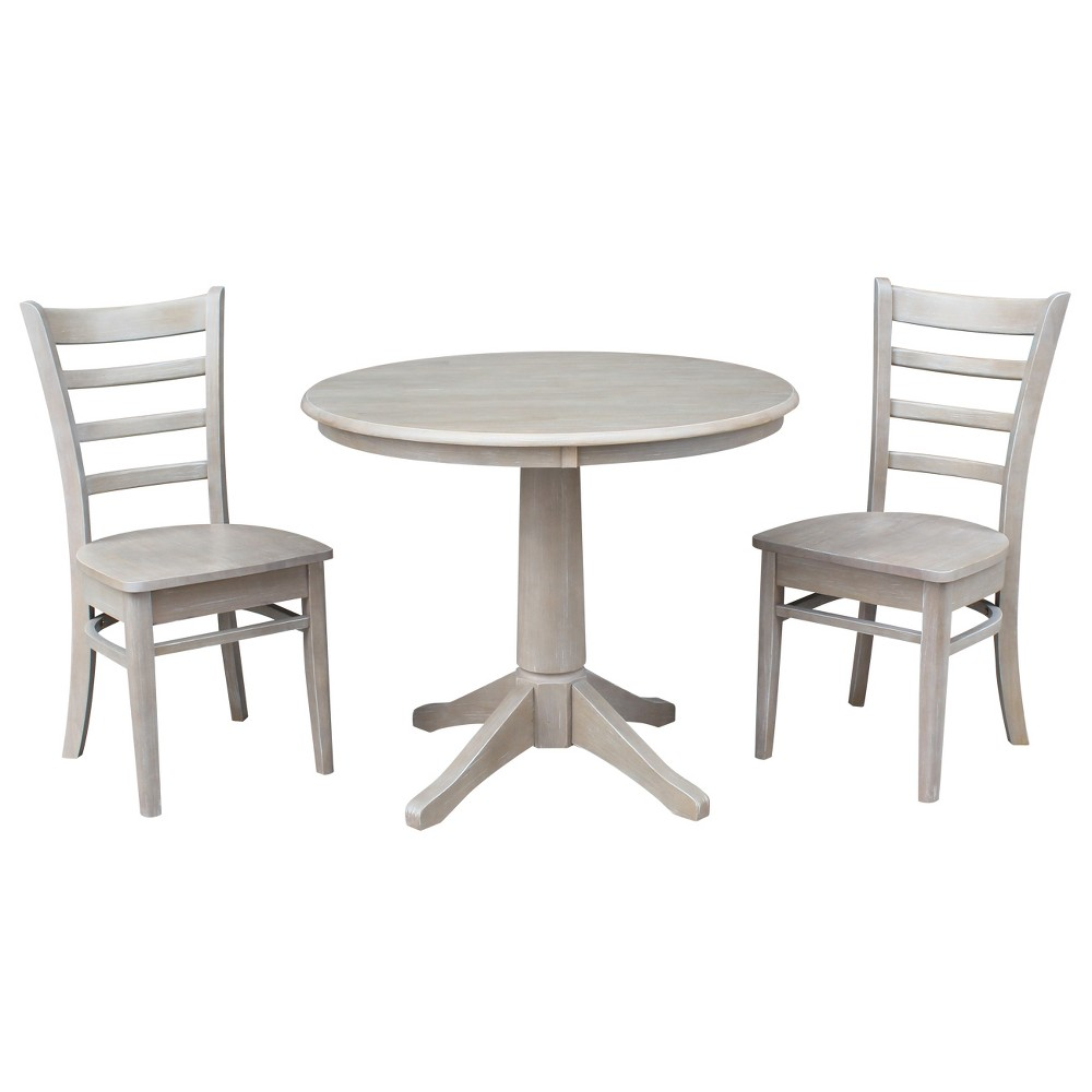 """Image of """"3pc Round Top 36""""""""x36"""""""" Solid Wood Pedestal Dining Table and 2 Emily Chairs Washed Gray Taupe ( Set) - International Concepts"""""""