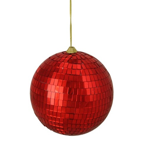 """Northlight 5.5"""" Hot Mirrored Glass Disco Ball Christmas Ornament - Red : Target"""
