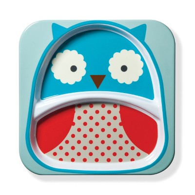 Skip Hop Melamine Square Owl Dinner Plate 8.3  - Blue/Red