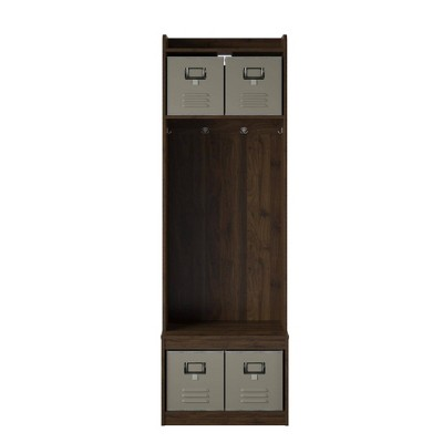 Journey Entryway Hall Tree with Storage Bench Walnut - Novogratz