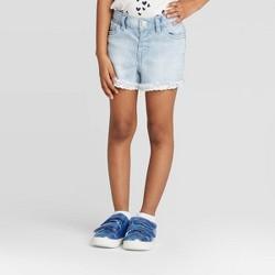 Toddler Girls' Lace Hem Jean Shorts - Cat & Jack™ Light Wash