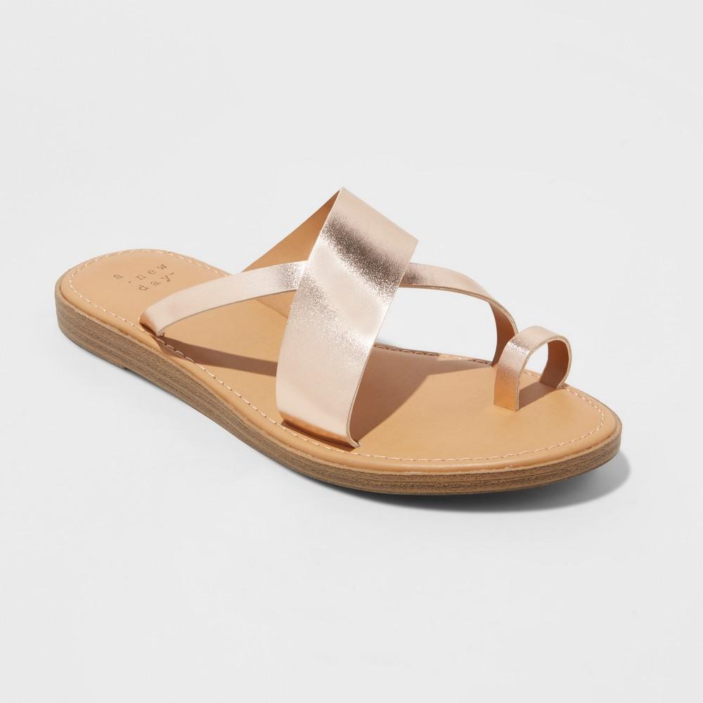 Women's Kallima Toe Ring Slide Sandals - A New Day Rose Gold 7